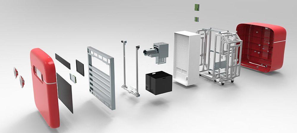 Coca Cola New Retail Vendoring Machine LKKER SCM Mechanical Design Exploded View Product Development Supply Chain Management